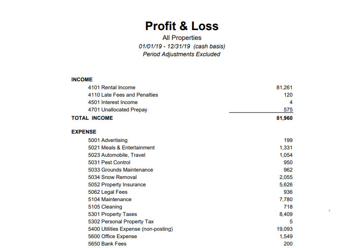 Profit and Loss Sample Report